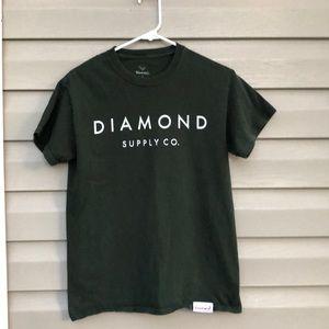Diamond Supply Co. green&white short sleeve tee